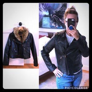 Vegan Black Leather Moto Jacket